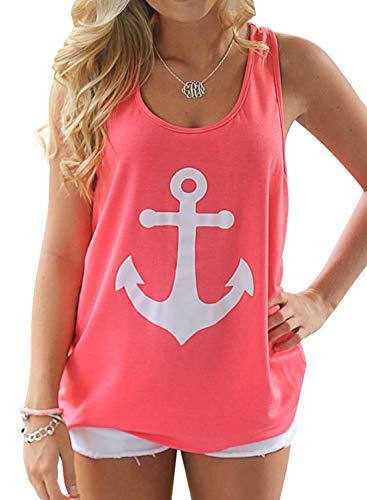 - Yanekop Women Boat Anchor Print Sleeveless Bowknot Tank Tops Vest Blouse Shirts(Watermelon Red,S)