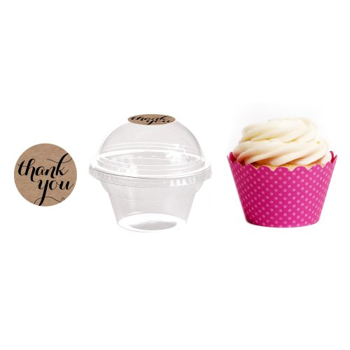 Dress My Cupcake 24-Pack Kraft Dessert Table Label Kit, Includes Favor Dome Containers, Thank You! Label and Fuchsia Wrapper