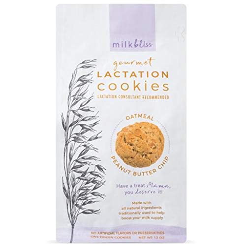 MilkBliss Peanut Butter Chip Soft Baked Lactation Cookies for Breastfeeding, All Natural and GMO Free Lactation Boosting Ingredients! Oats, Flaxseed, Brewers Yeast. 12 Count. (Cookie Diaper)