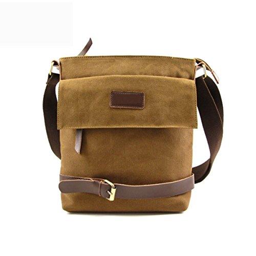 Männer Vintage-Leinwand Messenger Aktentasche Schulter Tote Seite Geschäft Tasche Brown,Brown-25cm*7cm*31cm