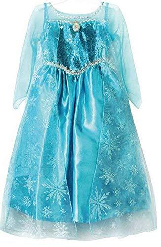 Madjitlqy Frozen Princess Dress elsa Queen elsa Children's Dress aisah Legal aisah Princess Dress Girls Dress. (3T-4T) Blue]()
