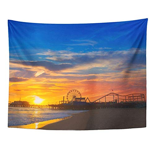 Remain Unique Tapestry Santa Monica California Sunset on Pier Ferris Wheel Reflection Beach Wet Wall Hang Decor Indoor House Made in Soft