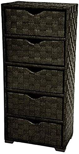 Oriental Furniture Natural Fiber Chest of Drawers – Five Drawer – Black