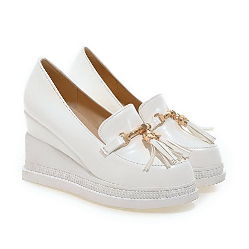 Odomolor Women's Patent Leather Pull-on Round Closed Toe High-Heels Solid Pumps-Shoes White PBkWexn