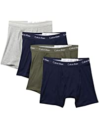 Men`s Cotton Boxer Briefs 4 Pack (Grey Heather(NP2009-930)/Olive/Navy, Small)