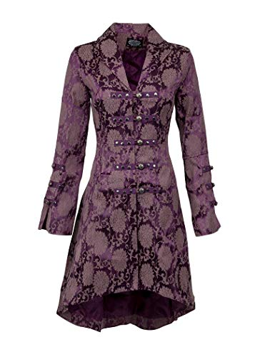 Womens Purple Brocade Gothic Steampunk Floral Jacket Coat – Size US 10