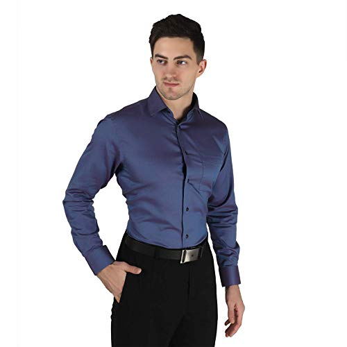 RUM & RAISINS Men's Regular Fit Shirt with Face Mask – Full Sleeve – Collard Style -100% Egyptian Giza Cotton Formal Shirt for Office, Casual, Business Work (Blue)
