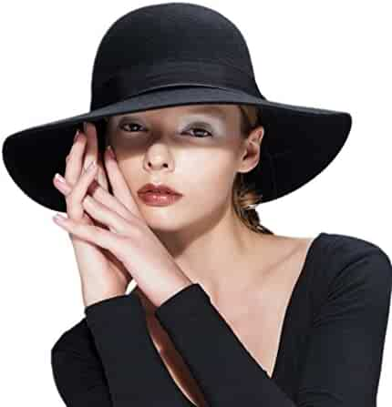 57cb97a0953563 Verashome Wool Floppy Hat Felt Fedora with Wide Brim Women's Vintage Bowler  for Ladies' Any