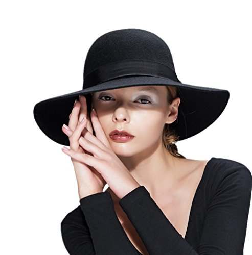 Wool Floppy Hat Felt Fedora With Wide Brim Women's Vintage Bowler 4 Colors For Ladies' any Outfits (Black)