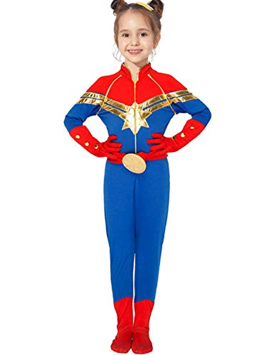 JAPANSCHOICE Kids Superhero Costume Suit 3D Spandex Unisex Jumpsuit Bodysuit for Kids Aged 5-13 (Captain Marvel, L for Height 55