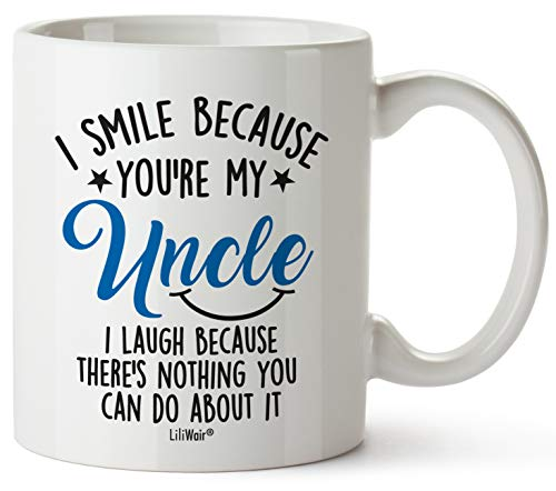 Uncle Gifts For Chrithmas, Uncle Gift From Niece Nephew, Funny Birthday Gifts For Uncles, Uncle Best Ever Coffee Mugs Cups, For Great Uncles Birthdays Novelty Cup Ideas, Uncle Smile Laugh Gag Mug