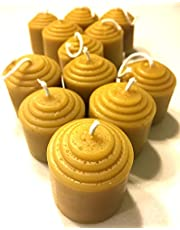 Beeswax Votive Candles - 12 Hour Each, 12 Pack, 144 Hours - 100% Pure USA Bees Wax - Unscented - All Natural Light Honey Scent