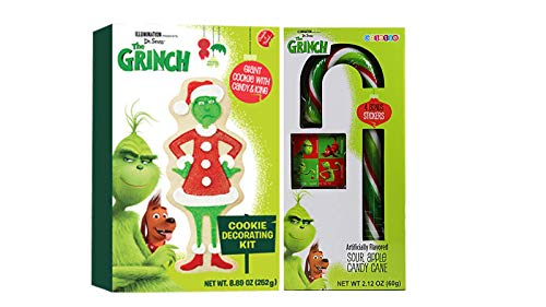 Dr. Seuss The Grinch Cookie Decorating Kit by Illumination | Create a Treat Christmas DIY Giant Cookie with Candy & Icing 8.89 0z | The Grinch Giant Candy Cane with Stickers.
