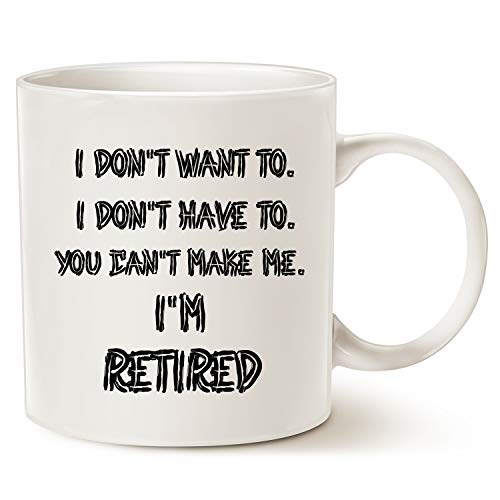 "Funny Humor Coffee Mug,""I'M RETIRED!"" Best Father's Day and Mother's Day Gifts Ceramic Cup White, 11 Oz by LaTazas"