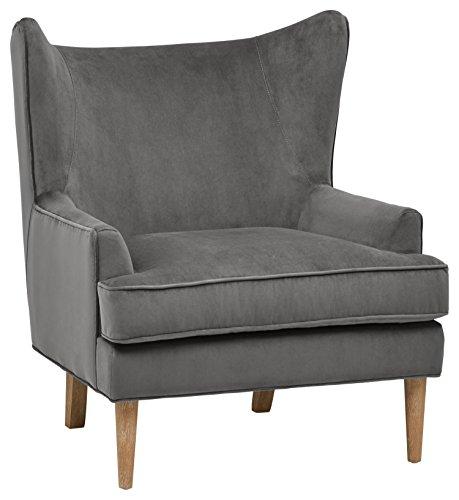 Rivet Chelsea Velvet Wing-Back Accent Chair, Otter Grey by Rivet