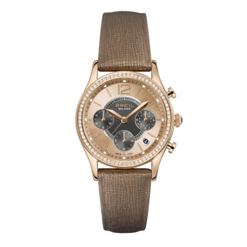 BRAND NEW Breil Women's Miglia Rose Gold Accent Brown Leather Band Watch TW1254