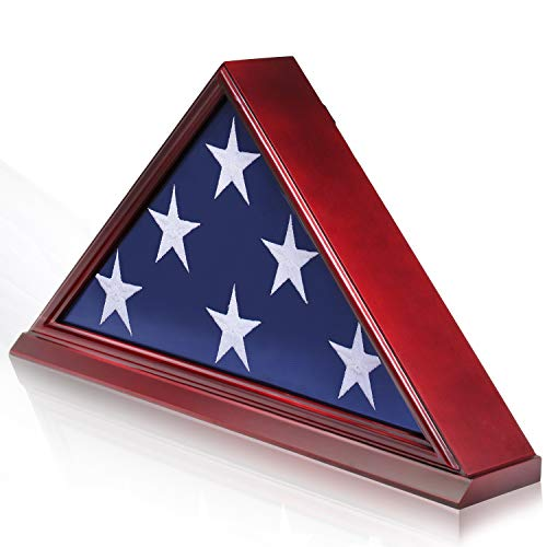 Anley Memorial Flag Display Case with Base - Solid Wood and Not Veneer - Removable Back Plate - Flag Shadow Box for Funeral or Burial ()