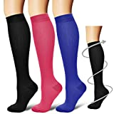 BLUETREE Compression Socks,(3 pairs) Compression Sock for Women & Men - Best For Running, Athletic Sports, Crossfit, Flight Travel, Assorted 3, Small/Medium