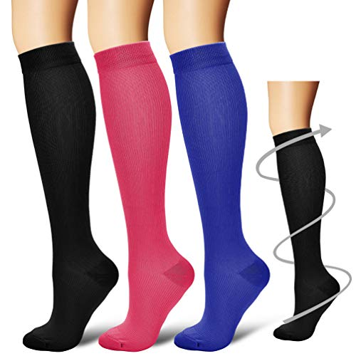 Laite Hebe 3 Pairs Knee High Graduated Compression Socks for Women and Men - Best Medical, Nursing, Travel & Flight Socks - Running & Fitness - 15-20mmHg