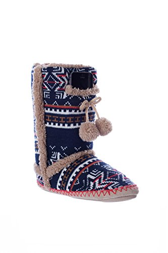 Navajo Navy Print Indoor/Outdoor Size Large Fuzzy Boot with Phone Pocket