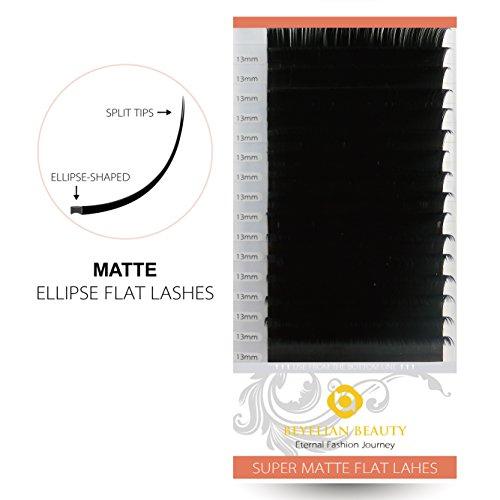 BEYELIAN Mink Ellipse Flat Eyelash Extensions MATTE Black Individual Semipermanent Lash Building Extensions C Curl 0.20mm 13mm