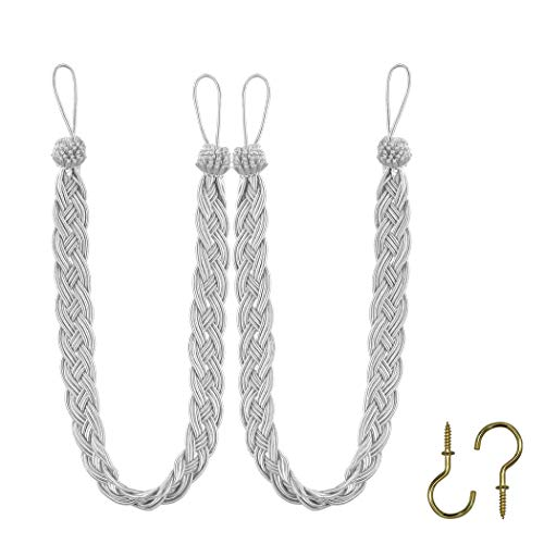 (Home Queen Hand Braided Curtain Tie Back, Buckle Holdback Drapery Curtain Tiebacks, 2 Rope Belt Curtain Tie with 2 Metal Hooks, Silver)