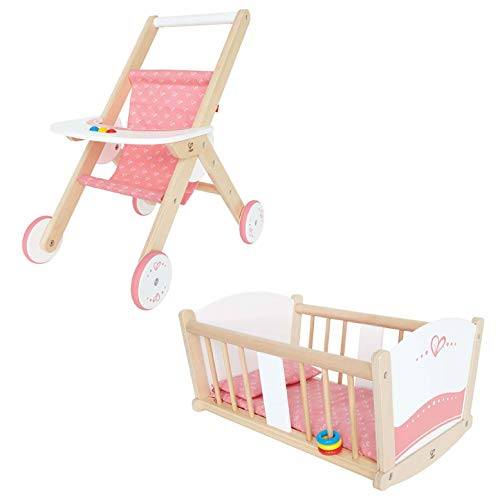 - Hape Kids Wooden Pretend Play Baby Doll Stroller & Rock-A-Bye Cradle Crib Toy