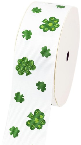 LUV Ribbons Creative Ideas Grosgrain St. Patrick's Day Print Ribbon, 1-1/2-Inch, (Shamrock Craft)