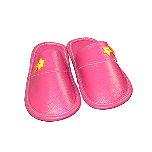 TELLW Niñas Niño Bebé Niños CASA De Cuero Cálido INVIERNO Dentro Lindo Zapatillas De Dibujos ANIMADOS Zapatos De INVIERNO Para Niños Rose