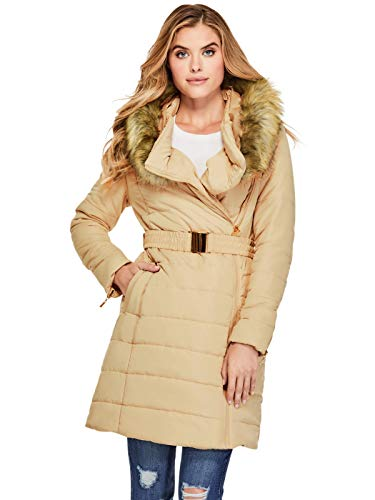 GUESS Factory Women's Serre Belted Longline Puffer Coat Camel