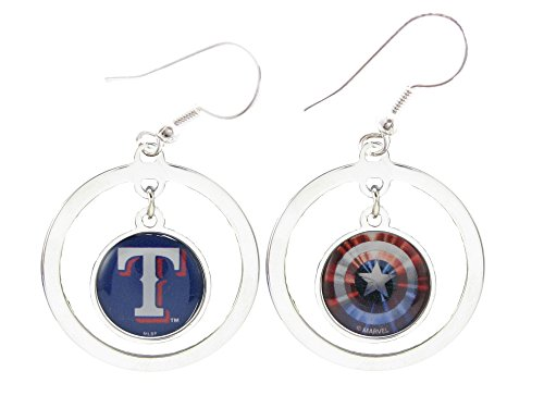 Texas Rangers Captain America Two Sided Silver Hoop Marvel Earrings Jewelry MLB