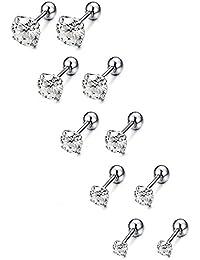 5 Paris Stainless Steel Mens Womens Stud Earrings Cartilage Ear Piercings CZ Helix Tragus Barbell Earrings 3-7mm