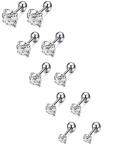 YINQAG 5 Paris Stainless Steel Mens Womens Stud Earrings Cartilage Ear Piercings CZ Helix Tragus Barbell Earrings 3-7mm (White)