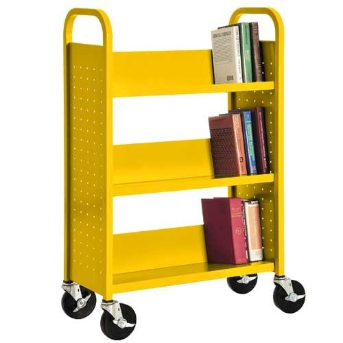 Sandusky Lee SL330-EY Single Sided Sloped Shelf Book Truck, 14'' Length, 32'' Width, 46'' Height, 3 Shelves, Sunshine by Sandusky