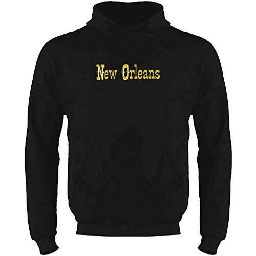 New Orleans Retro Vintage Travel Black XL Mens Fleece Hoodie Sweatshirt