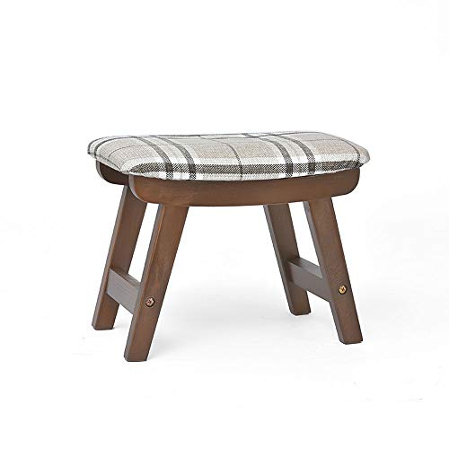 DEI QI Solid Wood Stool Living Room Creative Small Bench Home Fabric Stool (Color : Line, Size : Walnut Color)