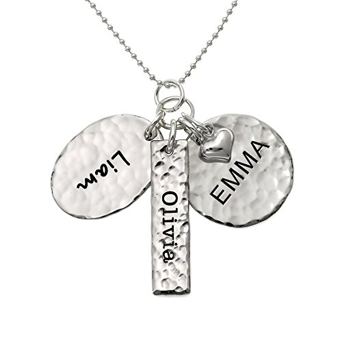 Chic and Modern Love Personalized Sterling Silver Name Necklace with 3 Customized Discs. Hand Finished and with a 925 Sterling Silver Heart. Choice of Chain. Gifts for Her, Mother, Grandmother, Wife