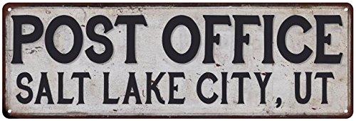 Salt Lake City, Ut Post Office Vintage Look Metal Sign Chic Retro - City City Creek Salt In Lake