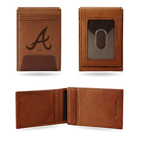 - Rico Atlanta Braves MLB Embossed Premium Brown Leather Front Pocket Money Clip Wallet