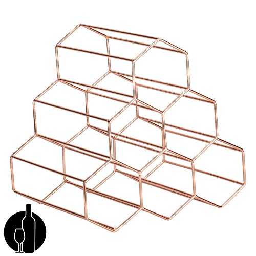 Hygge Cwtch Geometric Hexagon Wine Storage Organizer Countertop Freestanding Rack – Electroplated Stainless Steel Honeycomb 6 Bottles Holder Rose Gold