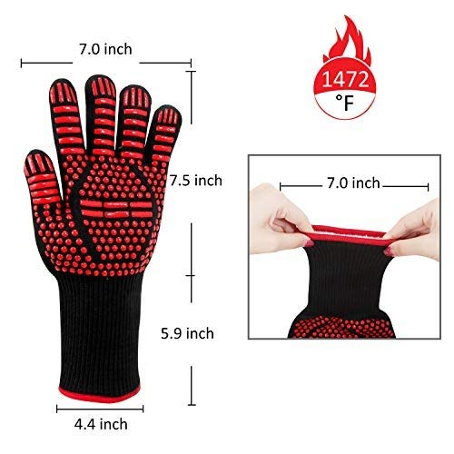 AINIYF Professional Heat Resistant Gloves, Fire Proof Mittens with Forearm Protection,Gloves 1472°F Degree Heat Resistance for Grilling/Welding/Kitchen Cooking/Oven/BBQ, 1 Pair by AINIYF (Image #1)