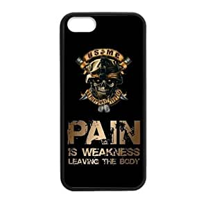 Canting_Good USMC Marine Corps With Skull Pain Is Weakness Leaving The Body Custom Case Shell Skin for iPhone 5 5S TPU (Laser Technology)
