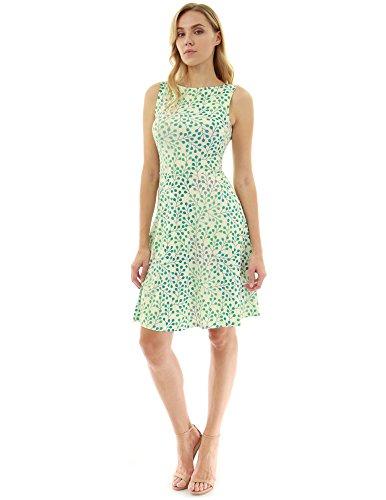 PattyBoutik Women's Keyhole Back A-Line Dress (Light Yellow and Green 18 M) ()
