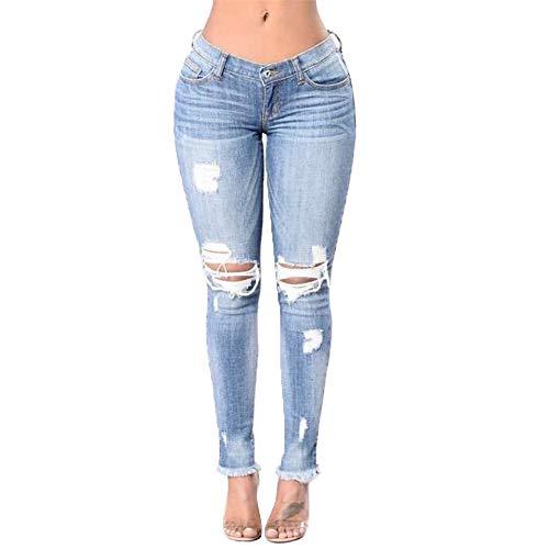 Grande Agujero Pantalones Blue Elasticidad Moda Pantalones Alta Calle Apretado Talla Cintura Delgada Sección 11ZExw