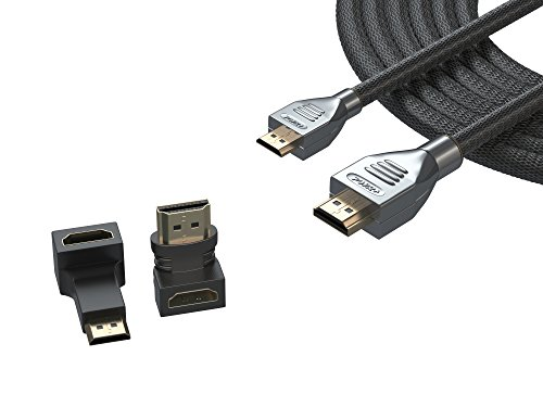 Pwr+ EXTRA LONG 12 Ft Mini-HDMI-Cable for Nikon-D3300-D3200-D5300-D5500-D5600-D500-D750-D7000-D7100-D7200-D5200 Canon-T6i T6 T6s T5 T5i EOS Rebel 60D 7D SL1 6D 70D, PowerShot SX530 HS Sony Camera Cord