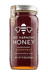 Bee Harmony American Raw Buckwheat Honey, 12 Ounce