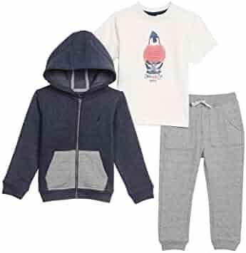 Nautica Toddler Boys' Fleece Button up Hoodie, Tee and Knit Jogger Set