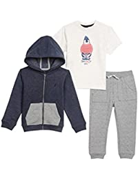 Nautica Toddler Boys' Fleece Button up Hoodie, Tee and...