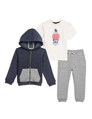 Nautica Toddler Boys' Fleece Hoodie, Tee, and Jogger Pant Set, Navy, 2T
