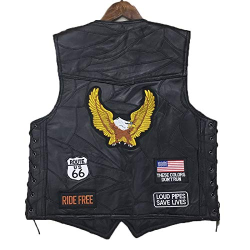 - AIJICHE Motorcycle Cycling Vest Punk Retro Classic Patch Motorcycle Jacket Leather Golden Eagle Embroidery Badge Design Cycling Club Casual Wear - Outdoor Sportswear,Black,XL